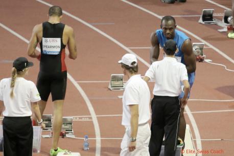 Usain Bolt juste avant le départ de son 200m